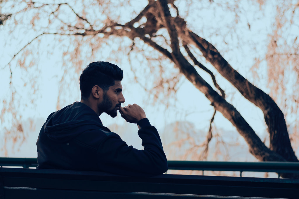 Rehab man thinking
